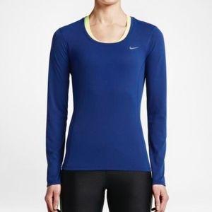 Nike DRI-FIT Contour Long Sleeve Royal Blue Small